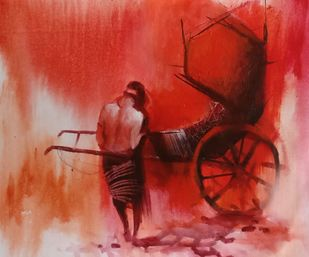 Rickshaw Puller - 8 by Dilip Chaudhury, Impressionism Painting, Mixed Media on Canvas, Flush Mahogany color