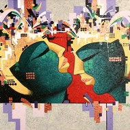 Scb 01 somnath c banerjee couple 27.5in x 34in %2869.9cm x 86.4cm%29 acrylic on canvas