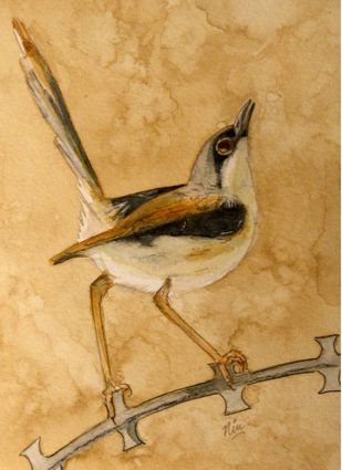 Ashy Prinia by Nin Taneja, Impressionism Painting, Watercolor on Paper, Aztec Gold color