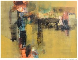 Untitled by Umesh Patil, Abstract Painting, Acrylic on Canvas, Twine color
