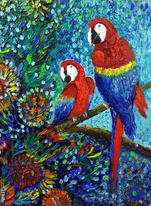 Parrots by Konika Banerjee, Expressionism Painting, Oil on Canvas Board, Ship Gray color