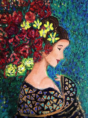 Rose by Konika Banerjee, Expressionism Painting, Oil on Canvas Board, Outer Space color