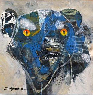 Feeling Blue by Dhiren Sasmal, Expressionism Painting, Mixed Media on Canvas, Limed Spruce color
