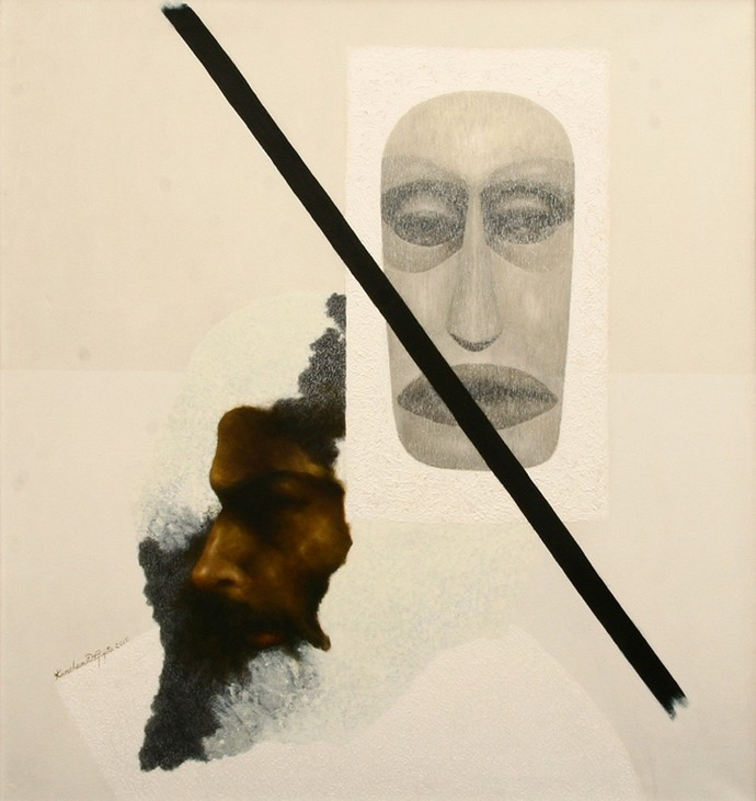 With his another face by Kanchan Dasgupta, Expressionism Painting, Acrylic on Canvas, Bone color