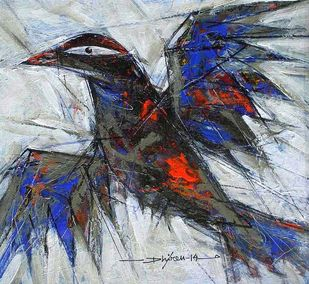 Birdie 1 by Dhiren Sasmal, Expressionism Painting, Mixed Media on Canvas, Loblolly color