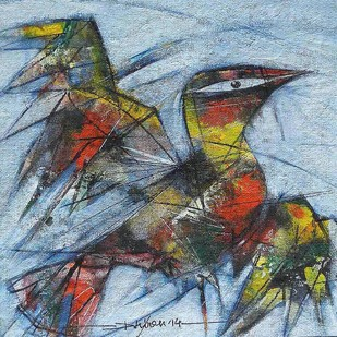 Birdie 2 by Dhiren Sasmal, Expressionism Painting, Mixed Media on Canvas, Cadet Blue color
