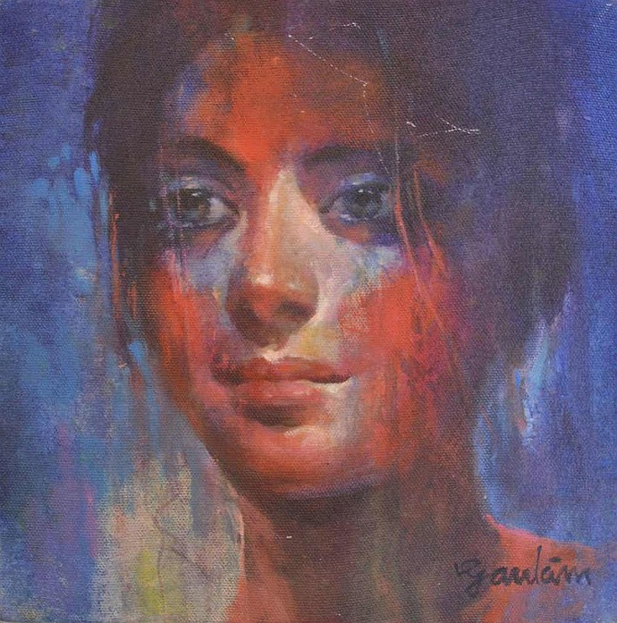 Me by Gautam Sarkar, Expressionism Painting, Acrylic on Canvas, Smoky color