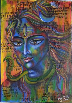 Abstract Shiva Digital Print by Pratibha Jadhav,Traditional