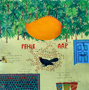 Jo jahan hein wahin rahe by Sonal Varshneya, Expressionism Painting, Watercolor on Paper, Pine Glade color