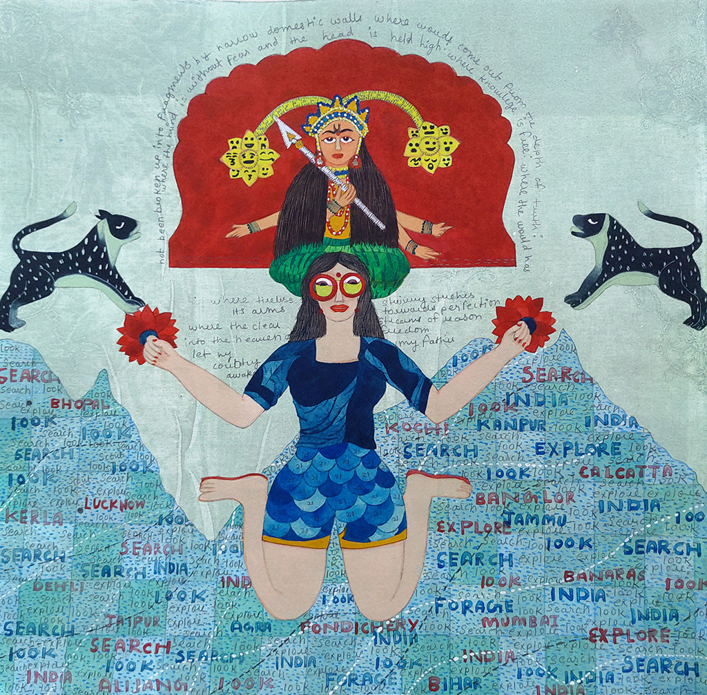 Jo jahan hein wahin rahe by Sonal Varshneya, Expressionism Painting, Watercolor on Paper, Opal color