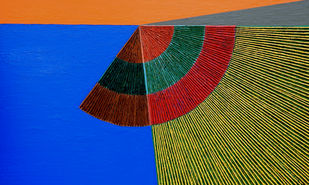Geometrical View 157 by Sandesh Khule, Geometrical Painting, Acrylic on Canvas, Di Serria color