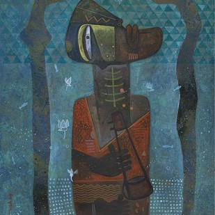 The Snake Charmer by Atish Mukherjee, Expressionism Painting, Tempera on Canvas, Deep Space Sparkle color