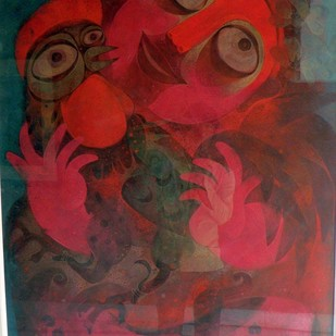 Girl with Rooster by Atish Mukherjee, Expressionism Painting, Tempera on Canvas Board, Lotus color