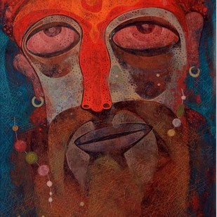 Gangasagar by Atish Mukherjee, Expressionism Painting, Tempera on Canvas Board, Irish Coffee color