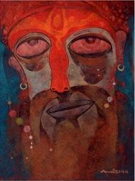 Gangasagar by Atish Mukherjee, Expressionism Painting, Tempera on Canvas Board, Irish Coffee color