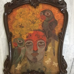 My Own Muse - 2 by Atish Mukherjee, Expressionism Painting, Tempera on Canvas, Shingle Fawn color
