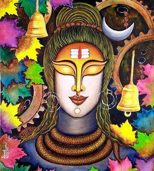 SHIVAM by SUSMITA , Traditional Painting, Acrylic on Canvas, Harvest Gold color