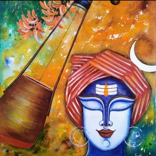 Baul Vaishnav by SUSMITA , Traditional Painting, Acrylic on Canvas, Pickled Bluewood color