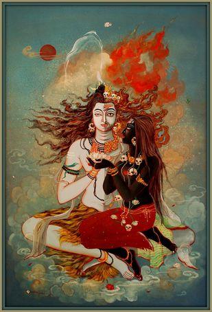 Mahadev-o-Mahamaya by Tanushree Ghosh, Impressionism Painting, Watercolor Wash on Paper, Peat color