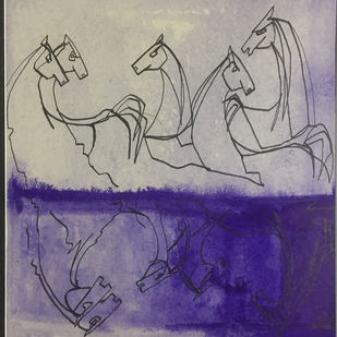 The Equine story by Neerajj Mittra, Expressionism Painting, Watercolor on Paper, Cloudy color
