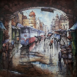 Tram in kolkata-1 by Shubhashis Mandal, Impressionism Painting, Watercolor on Paper, Mine Shaft color