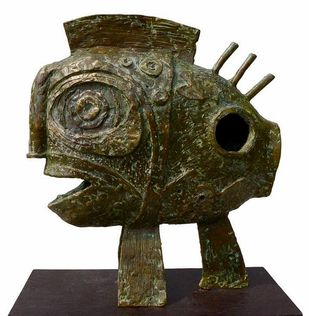 Fish by Atish Mukherjee, Art Deco Sculpture | 3D, Bronze, Lisbon Brown color