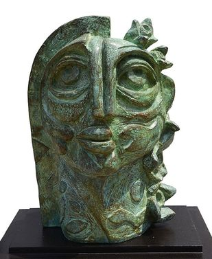 Girl with Roses by Atish Mukherjee, Art Deco Sculpture | 3D, Bronze, Heavy Metal color