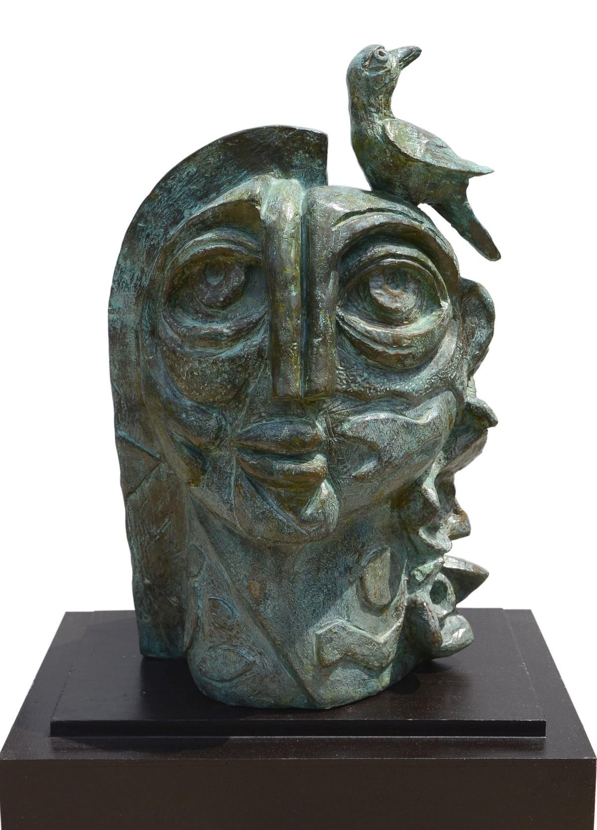 Girl with Bird by Atish Mukherjee, Art Deco Sculpture   3D, Bronze, Kelp color