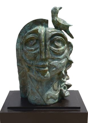Girl with Bird by Atish Mukherjee, Art Deco Sculpture | 3D, Bronze, Kelp color
