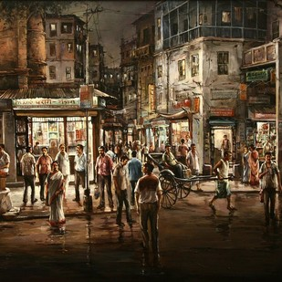 Market by Shuvendu Sarkar, Expressionism Painting, Acrylic on Canvas, Black Marlin color