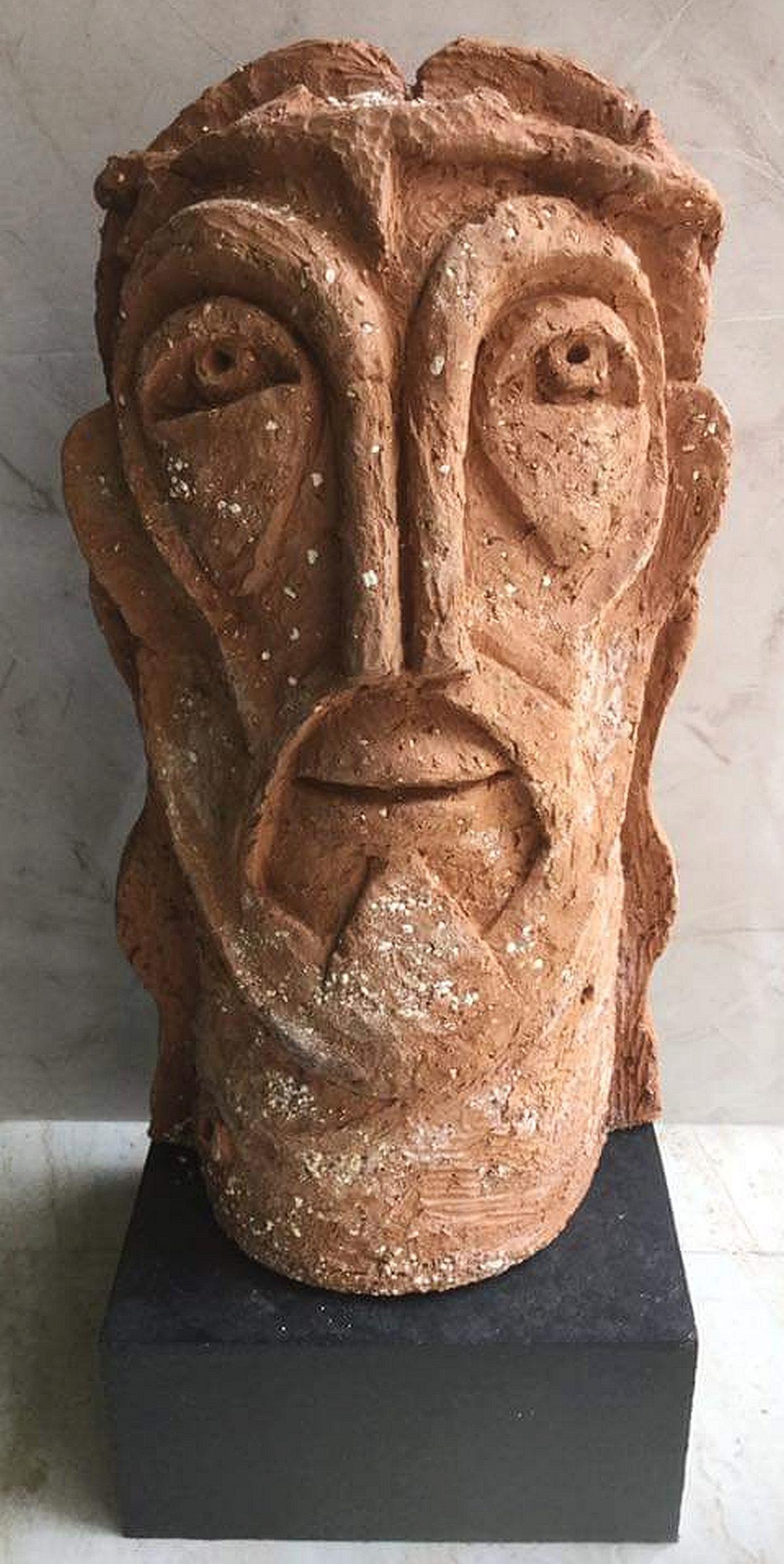 Saviour by Atish Mukherjee, Art Deco Sculpture   3D, Terracotta, Taupe color