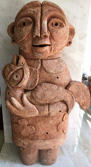 Love by Atish Mukherjee, Art Deco Sculpture | 3D, Terracotta, Beaver color