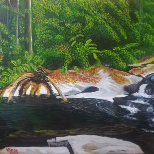 Deep in the Jungle by Venugopal Sunkad, Impressionism Painting, Acrylic on Canvas, Tom Thumb color