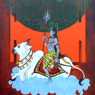 nandi by Ramchandra Kharatmal, Expressionism Painting, Acrylic & Graphite on Canvas, Matterhorn color