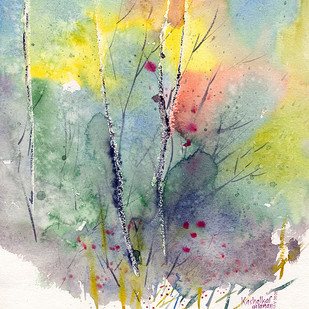 Nature by Gajanan Kashalkar, Abstract Painting, Watercolor on Paper, Celeste color