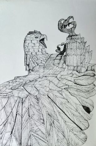 Jatayu Earth Centre by Pooja Wadekar, Illustration Drawing, Pen & Ink on Paper, Tiara color