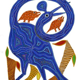 Bhil Painting by Bhuri Bai, Tribal Painting, Acrylic on Paper, Sapphire color