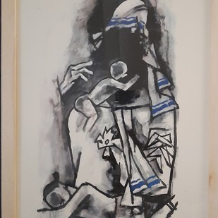 Mother teressa by M F Husain, Illustration Serigraph, Serigraph on Paper, Silk color