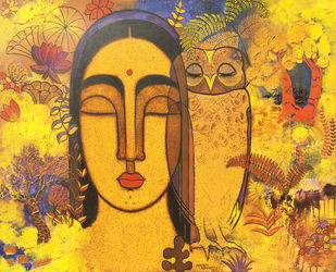 Lady With Owl by Mamata Shingade, Expressionism Painting, Acrylic on Canvas,