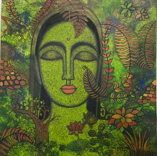 Peace of Nature II by Mamata Shingade, Expressionism Painting, Acrylic on Canvas, Verdigris color