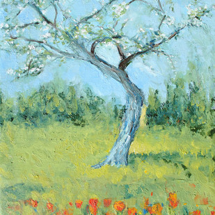 Tulips & Apple Blossoms-4 Digital Print by Animesh Roy,Impressionism