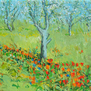 Tulips & Apple Blossoms-3 Digital Print by Animesh Roy,Expressionism