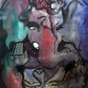Ganesha by Sreekar, Expressionism Painting, Ink on Paper, Ship Gray color