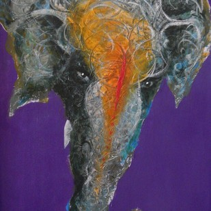 Ganesha by Sreekar, Expressionism Painting, Acrylic on Canvas, Mulled Wine color