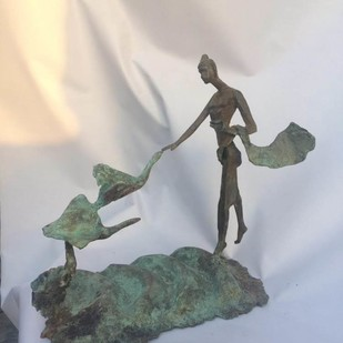 Siddharth by Shashi Paul, Art Deco Sculpture   3D, Bronze, Silver color