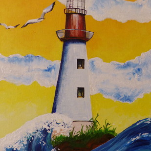 The Lighthouse by Mallika Seth, Expressionism Painting, Acrylic on Canvas, Nugget color