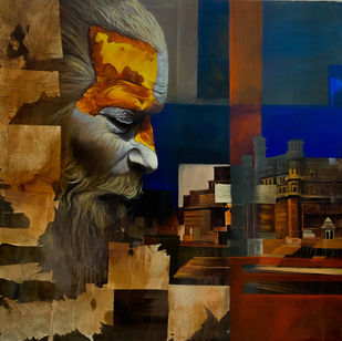 Sadhu by Mk goyal, Expressionism Painting, Mixed Media, Cocoa Brown color