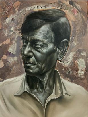 The stranger by Mk goyal, Photorealism Painting, Mixed Media, Makara color