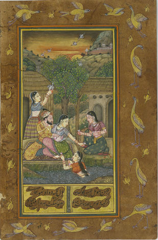 Miniature - Mughals Outdoors - I by Unknown Artist, Folk Painting, Natural colours on paper, Yellow Metal color