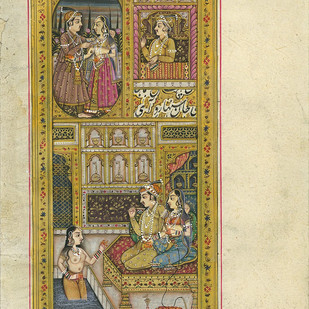 Miniature - Mughal Courtly Pleasures by Unknown Artist, Folk Painting, Natural colours on paper, Stark White color